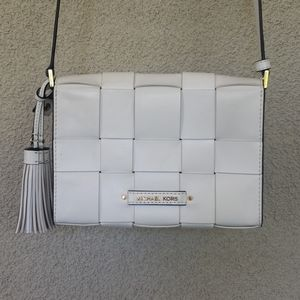 Michael Kors White lattice Crossbody